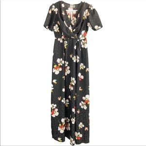 ASOS Black Floral Wrap Button Down Maxi Dress